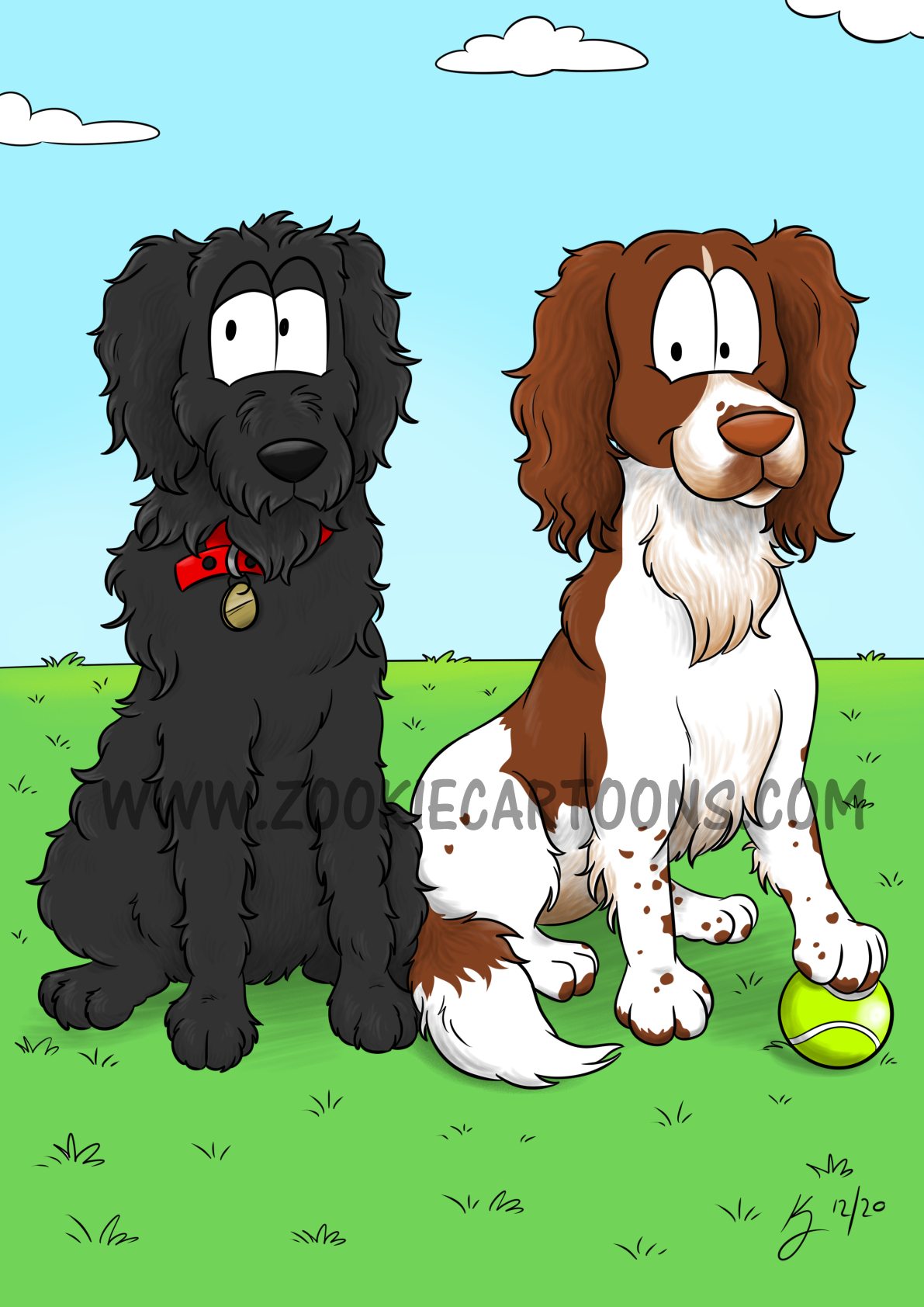 Pet Caricature Rufus and Murphy WM