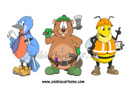 Bird, Beaver and Bee Characters