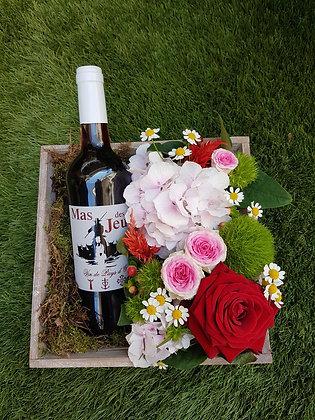 Coffret vin-fleurs