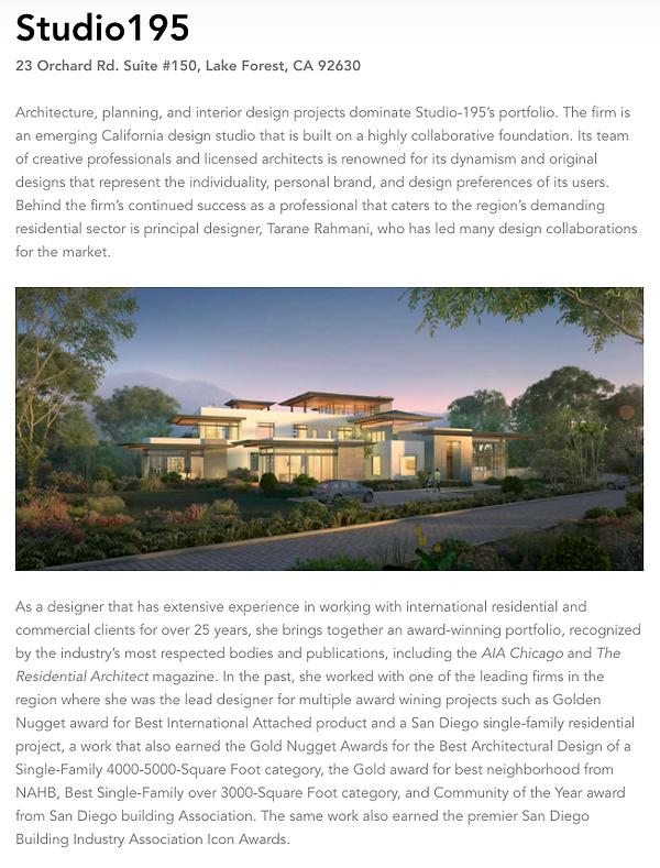 Studio195 named best Residential Archite