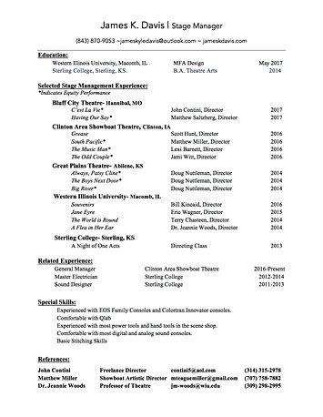 stage management resume resume ex&leshow ex&les seangarrette INPIEQ