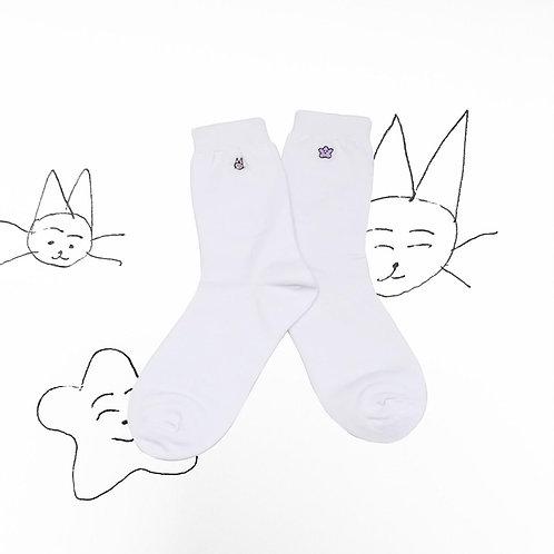海星白貓白色襪子Seastar and White Cat Sock