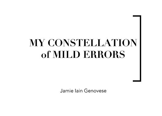 Text on image: my constellation of mild errors, Jamie Iain Genovese. Vide on the left: The video features a car journey through empty roads at night in Malta from the car window's point of view. Underneath scrolling white text on a black background, recounts an encounter.