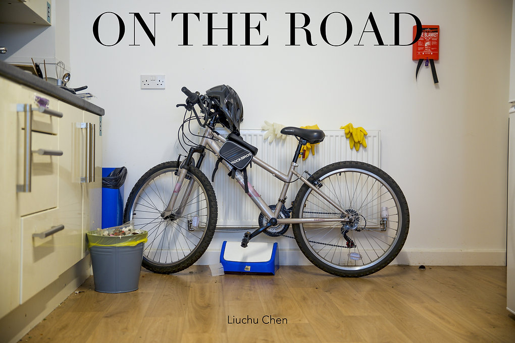 Text in Image: On the road,Liuchu Chen  A bicycle is leaning against a white radiator on the wall. The helmet hangs on the handle bar. On the radiator there are three pairs of rubber gloves, two bright yellow, the other see through white. On the wall, to the right of the bicycle hangs a red fire-safety blanket. Underneath the bicycle lies the blue and white lid of a rubbish bin. The rest of the bin stands to the left of the bicycle. By the front wheel there is a grey metal wastepaper basket with yellow plastic liner and rubbish. Parts of the kitchen cupboards can be seen to the left of the image