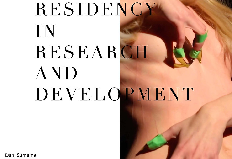Text on image: Residency in Research and development, Dani Surname. In the image Two hands with broken brown bottle glass taped onto their fingernails with green tape, is scratching onto their own naked torso. The skin features the raised scratches from the broken glass.