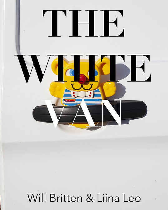 Text on image: the white van,Will Britten & Liina Leo. In the image a close-up of a yellow plastic teddy bear wedged in the black door-handle of a white van