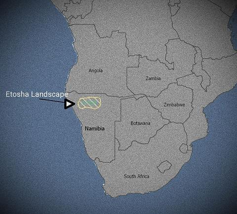Map of Etosha Landscape