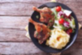 Pollo rostizado con pure de papas