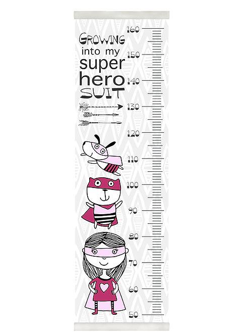 Girl super hero growth chart