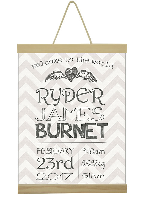Grey Chevron Birth Print