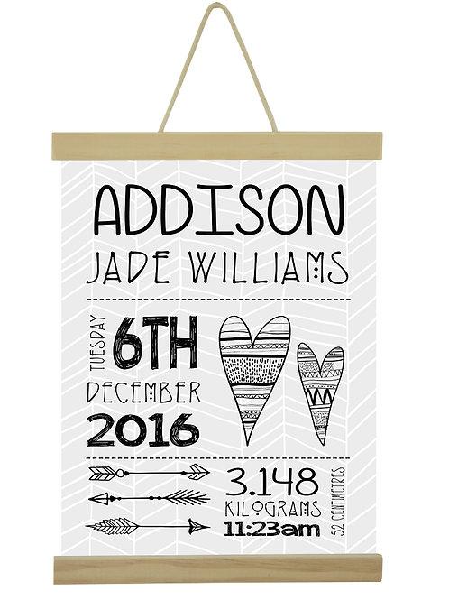 Addison Birth Print