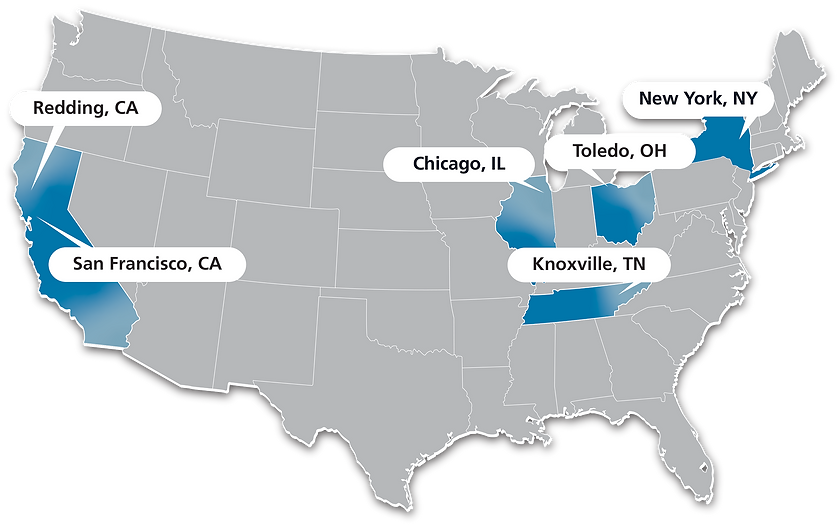 U.S. Map showing our call center locations