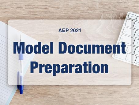 AEP 2021: Model Document Preparation