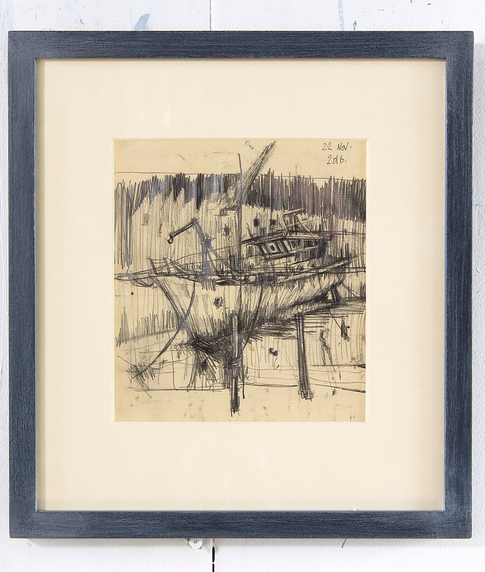 The Old Fisher Yard, Framed Original Drawing / SOLD
