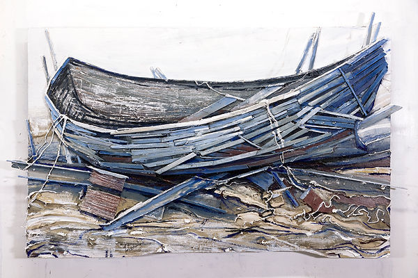 Sodden Hull at Low Tide, Oil and Wood on