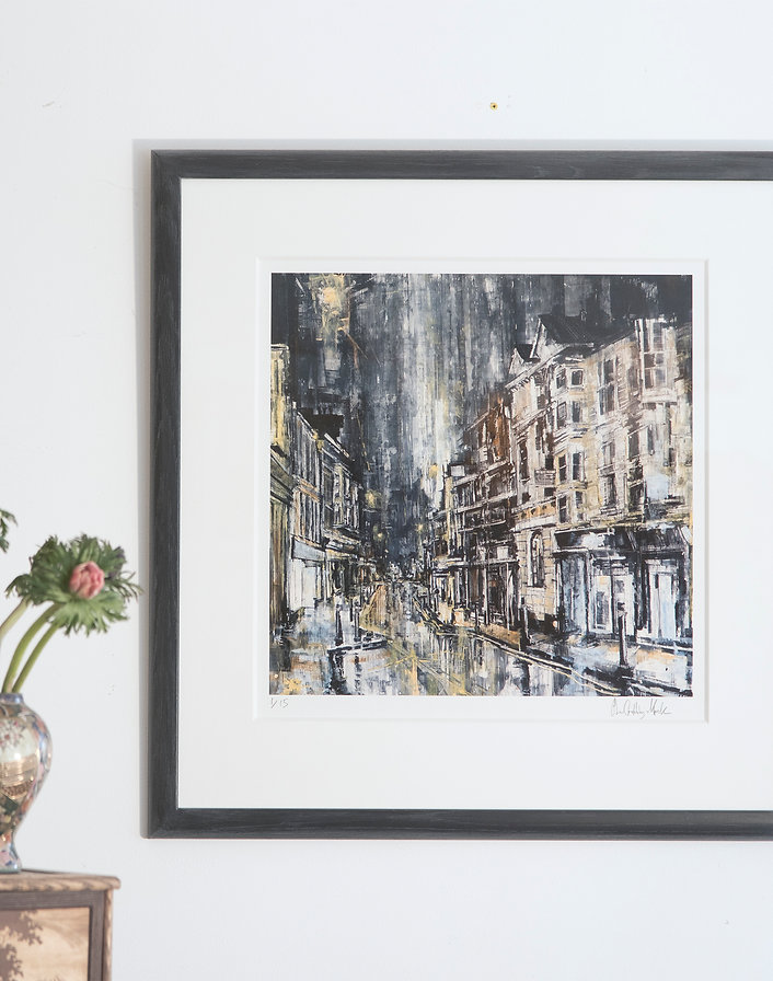 Cardigan High street, After Heavy Rain. Framed Limited Edition Print / SOLD OUT