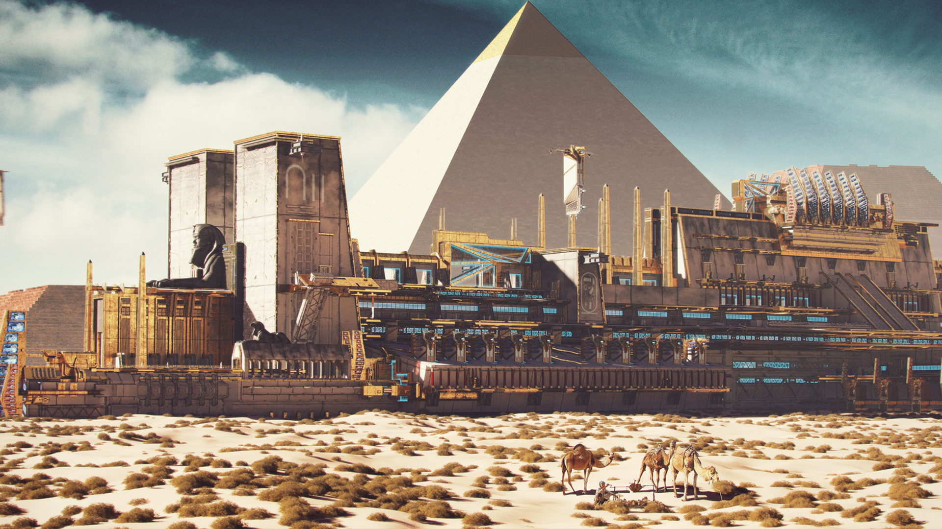 Building of pyramids
