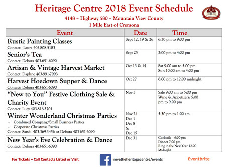 The Heritage Centre Upcoming Events