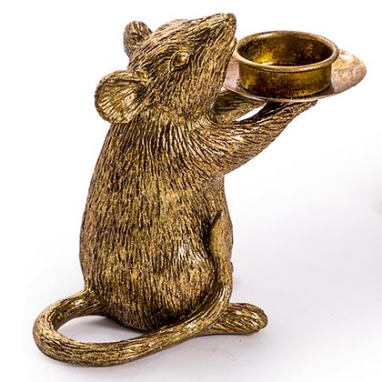 Gold Mouse Candleholder