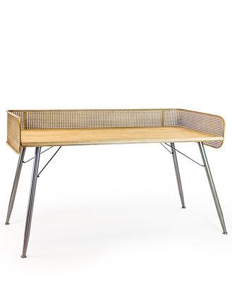 Rustic Metal Rattan Desk Console Table