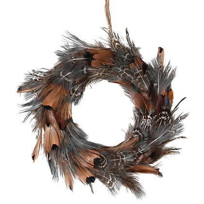 Brown Feather Mini Wreath tree hanging decoration
