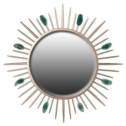 Sunburst Gold Mirror with Green Agate Stone
