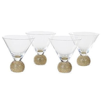 Set of 4 Gold Diamante Martini Glass