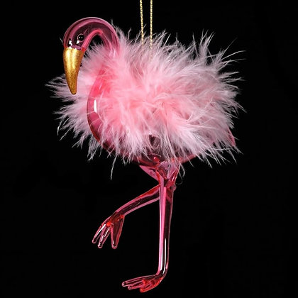 Glass Flamingo W/feathers tree hanging decoration