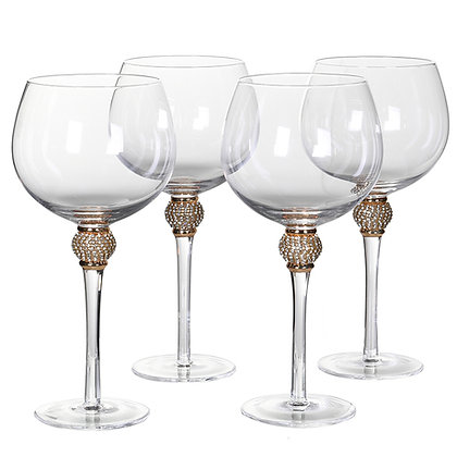 Set of 4 Gold Diamante Gin Glasses