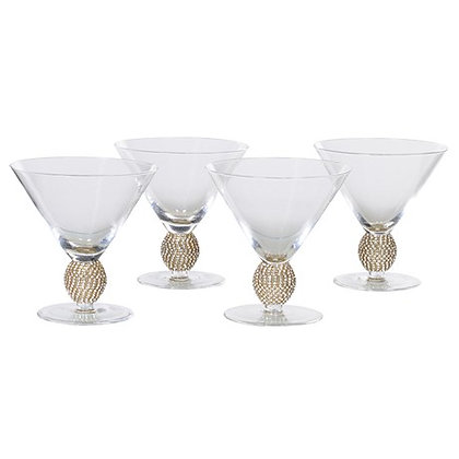 Set of 4 Gold Diamante Cocktail Glasses