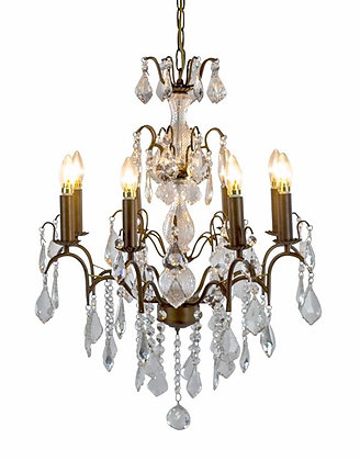 Large 8 Branch Antique French Bronze Chandelier