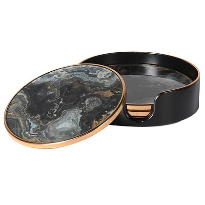 Set 4 Black Marble Effect coasters