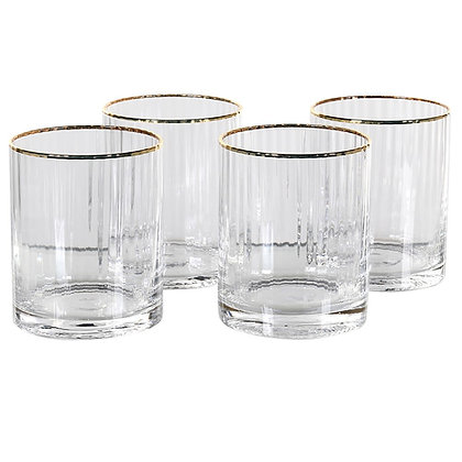 Gold Rim Ribbed Tumbler Glasses