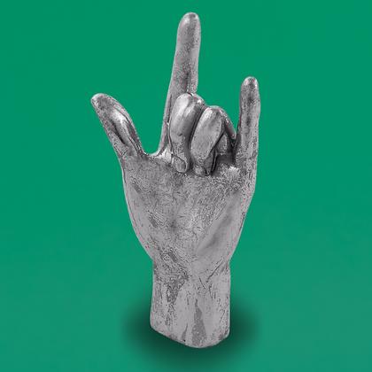 Silver 'Rock On' Hand Figure