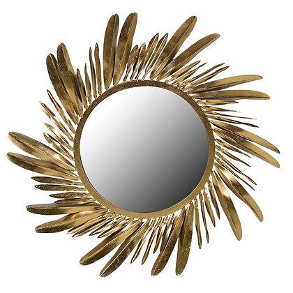 Gold round feather mirror