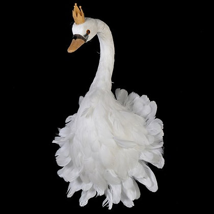 Wall Hanging Feather Swan Head with Crown