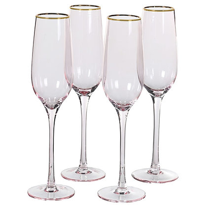 Gold Rim Pink Tint Champagne Glasses