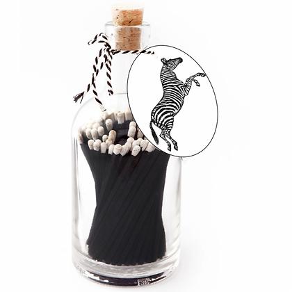 Zebra matches in bottle