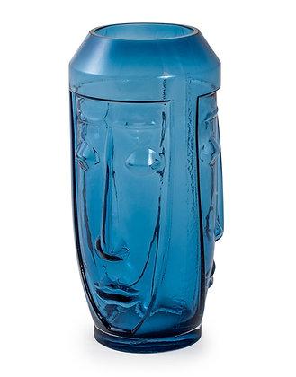 Tall Blue Face Deco Vase