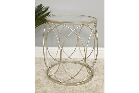 Silver wire side table W glass top