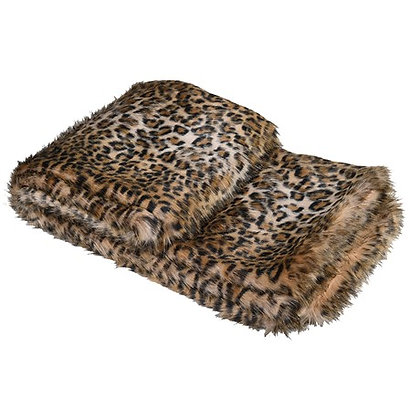 Light Leopard Print Faux Fur Throw