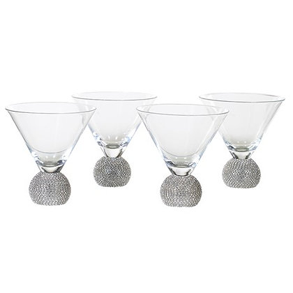 Set of 4 Silver Diamante Martini Glass