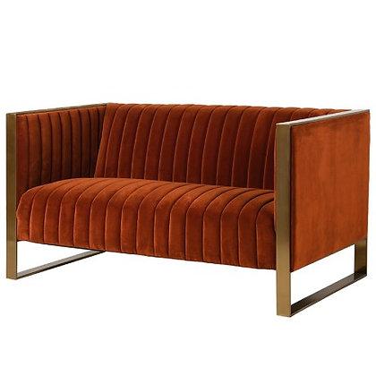 Naranja Orange Ribbed 2 Seater Sofa