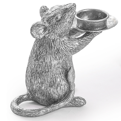 Silver Mouse Candleholder