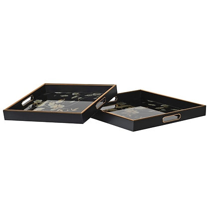 S/2 Blk Floral Sq Trays