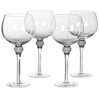 Set of 4 Silver Diamante Gin Glasses