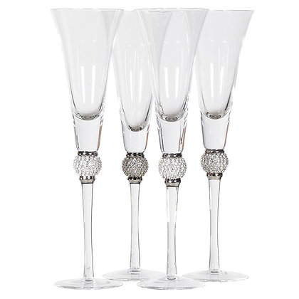 Silver diamante champagne flutes -Set of 4