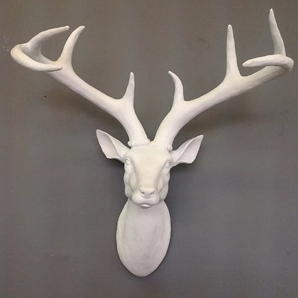 Large white deer/stag head