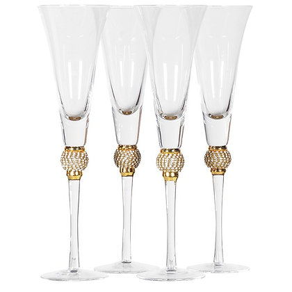Gold diamante champagne flutes  - Set of 4