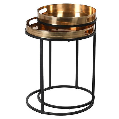 Shiny Brass and Black Nesting Tables